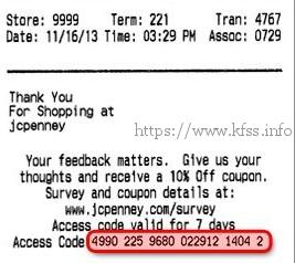 survey receipt of jcpenney