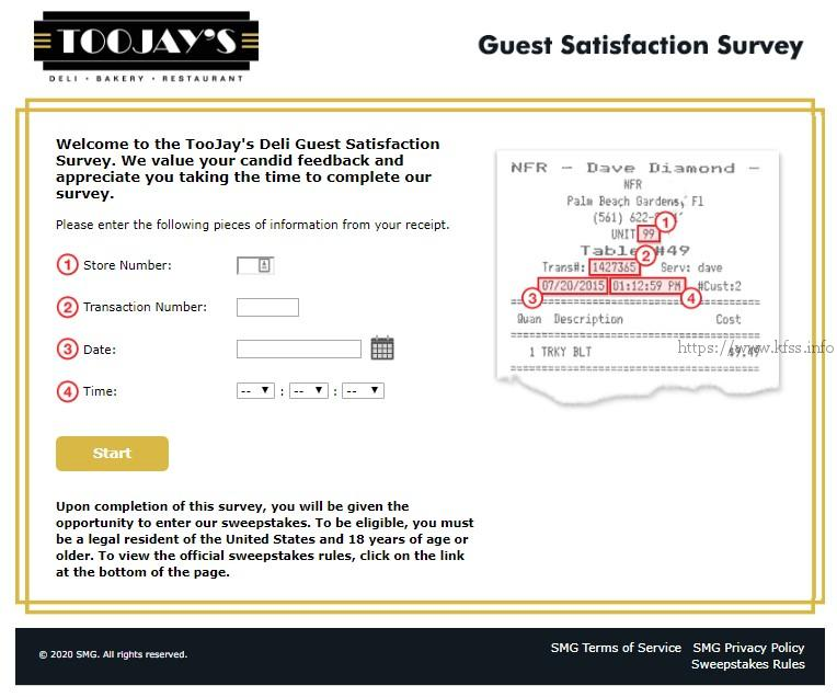 toojays deli survey